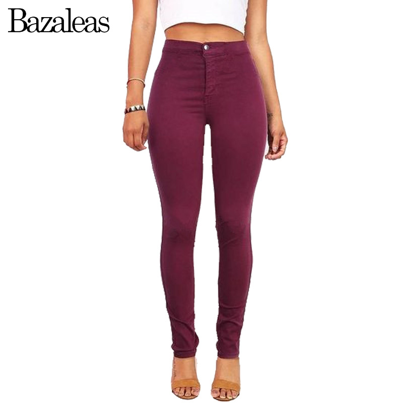 Bazaleas 2017 High Waist Stretch Women Jeans Skinny Pants American hip  lifting Casual Pencil Pants Apparel Wine Red-in Jeans from Women s Clothing    ... a1d7d0e2d95e