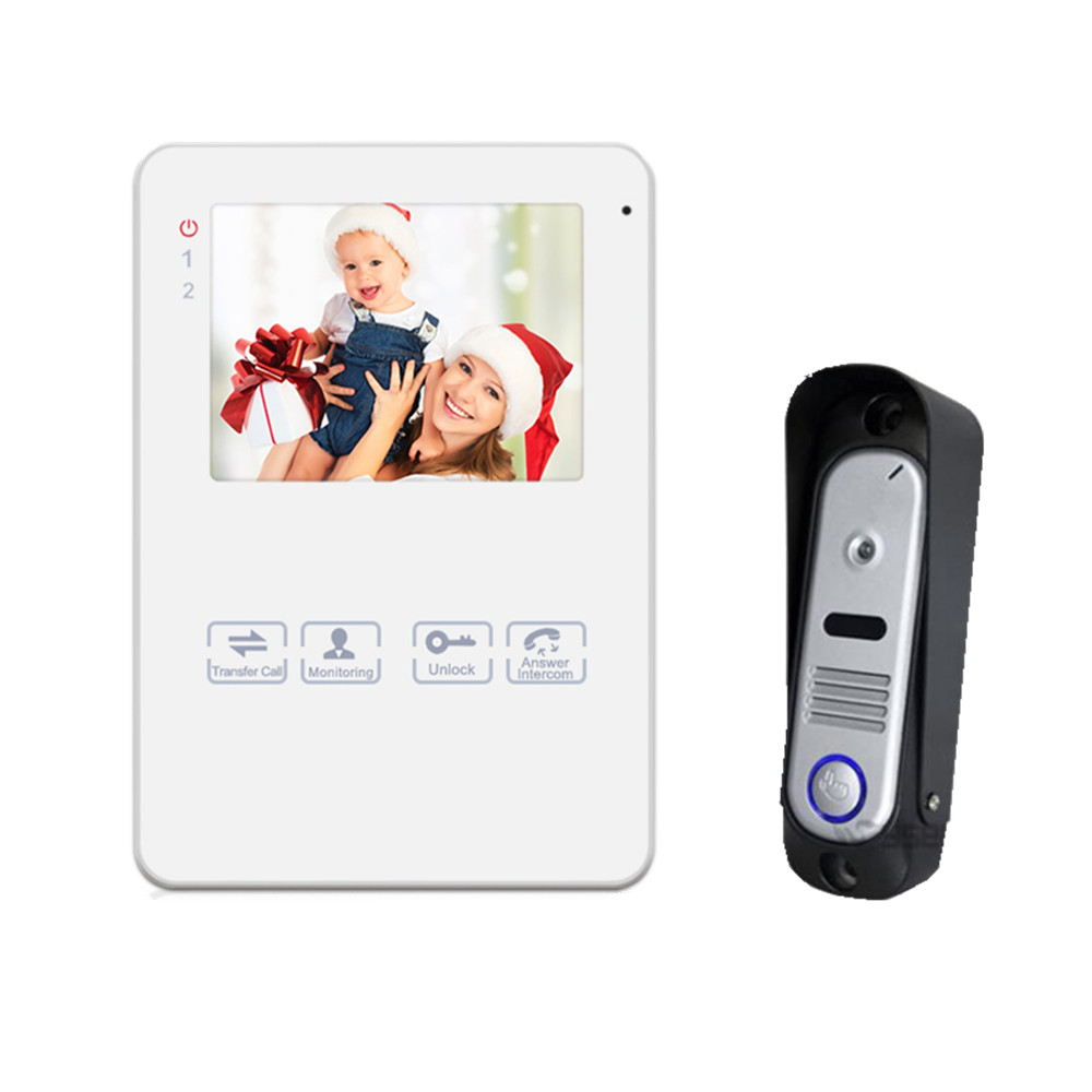 Homefong4Wire 4 Inch Video Door Phone Door Unlock Door Bell Intercom System with Photo/Video Record Function 800TVL Monitoring