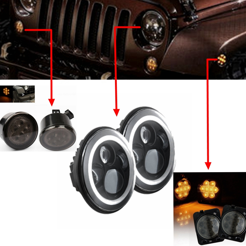 7 inch 40W Halo Ring Amber/white Angel Eyes Headlight IP67 with 3w Front Grill TurnIndicator Signal Light for Jeep Wrangler