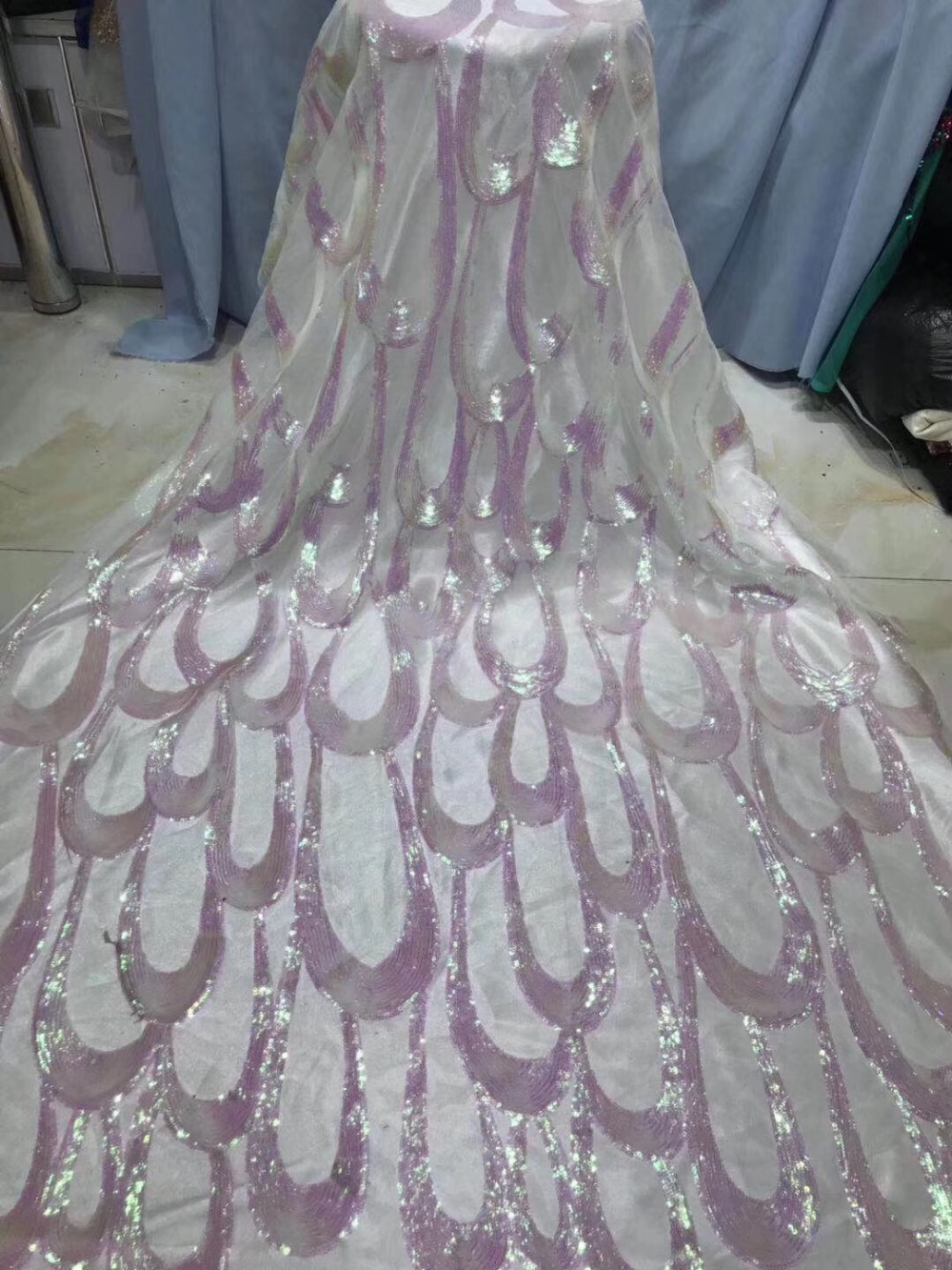 2019 white pink african lace fabric high quality french guipure lace fabric 2018 new arrival sequins