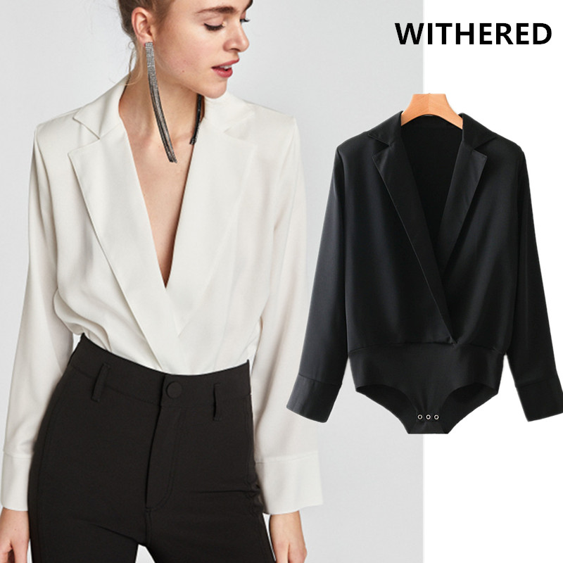Withered  England Urban Office Lady Solid Notched Blusas Kimono Blouse Shirt Combinaison Femme Combinaison Femme Bodysuit Women