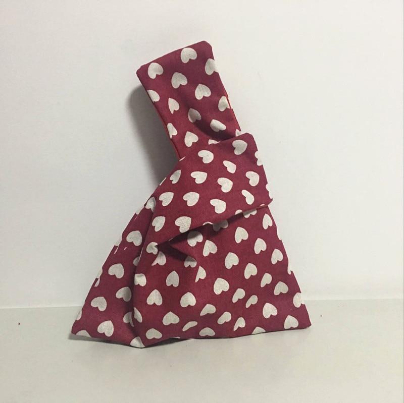 YILE-bolsa de transporte para la muñeca de lino y algodón, bolsa para teléfono con nudo, monedero, estampado de puntos, azul y rojo, ST10