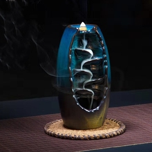 Backflow Incense Burner Cones Holder and Ceramic Aromatherapy Mountain Waterfall Vintage Buddhist Burners Home