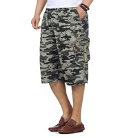 Mens Casual Camouflage Shorts Man Military Army Green Pockets Khaki Short Big Pockets Knee Length Pants