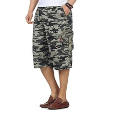 Mens Casual Camouflage Shorts Man Military Army Green Pockets Khaki Short Big Pockets Knee-length Pants Summer Outdoor Trousers army green side pockets v neck short sleeves camouflage dress