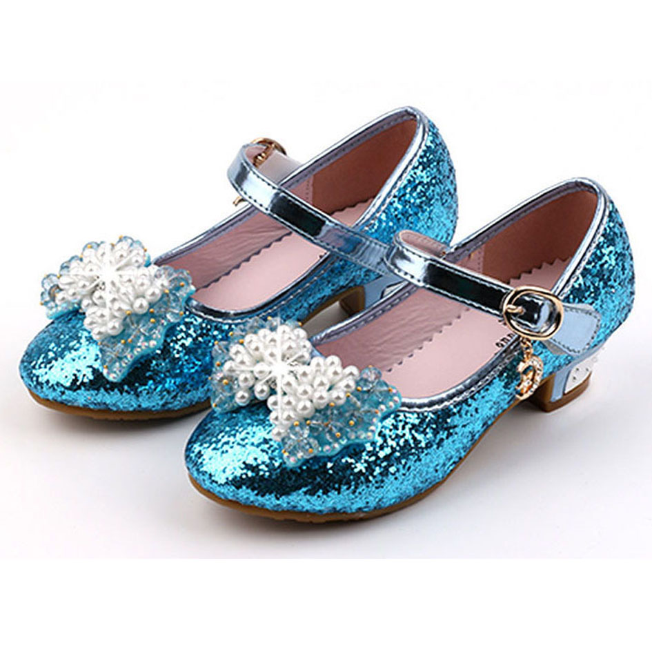 Kids S High Heels 2017 Glitter Flower Wedding Shoes For Party Beaded Children Snow Queen Elsa In Leather From Mother On