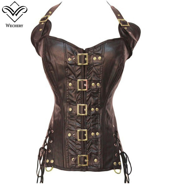 8ea255f5af8 Wechery New Women Steampunk Corset Halter Sexy Push Up Leather Corselet  Lace Up Button Bustiers Korset Posture Pu Leather Gorset