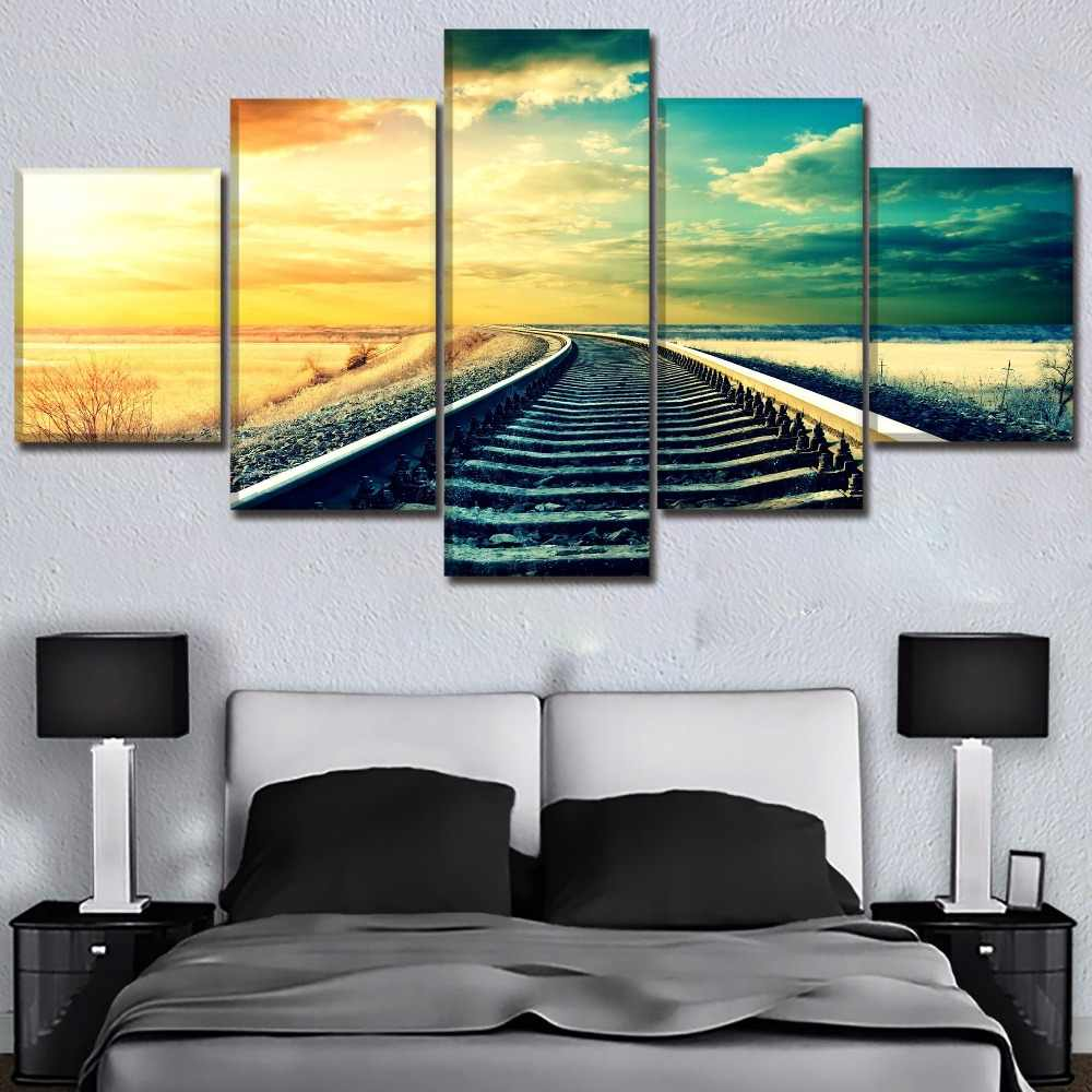 One Set  5 Pcs Modular Picture Modern Top-Rated Canvas Print Landscape Sky Railroad Poster Wall Art Home Decor Living Room Frame