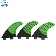 Surf New FCS Quilhas G5/G7 Fin Green Honeycomb Carbon Fibre Fins Tri Set Surfboard in Surfing