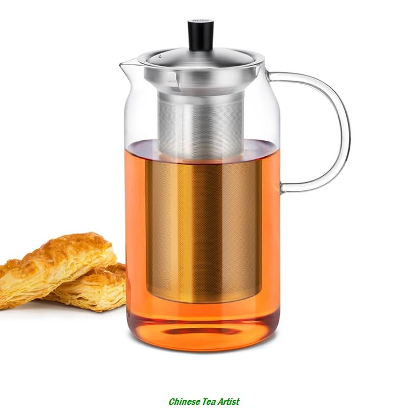 Căldură rezistentă la căldură Modernă ceainic mare cu infuzor din oțel inoxidabil și capac 1200ml, sticlă borosilicată, ceainic, transport gratuit