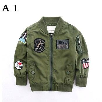 Spring Autumn Jackets for Boy Coat Bomber Jacket Army Green Boy's Windbreaker Jacket letter Print Kids Children Jacket age 3-13 4