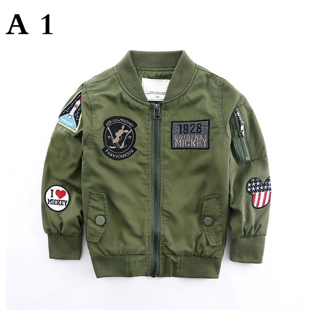 Spring Autumn Jackets for Boy Coat Bomber Jacket Army Green Boy's Windbreaker Jacket letter Print Kids Children Jacket age 3-13