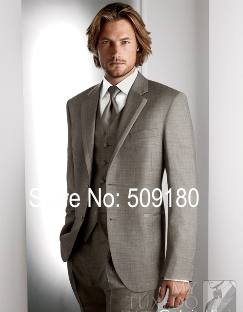 Grey Customized Tuxedo Male Suit Wedding Groom 5 Pieces Bespoke Mens Formal Suit Light Gray TZ73002 Terno De Noivo