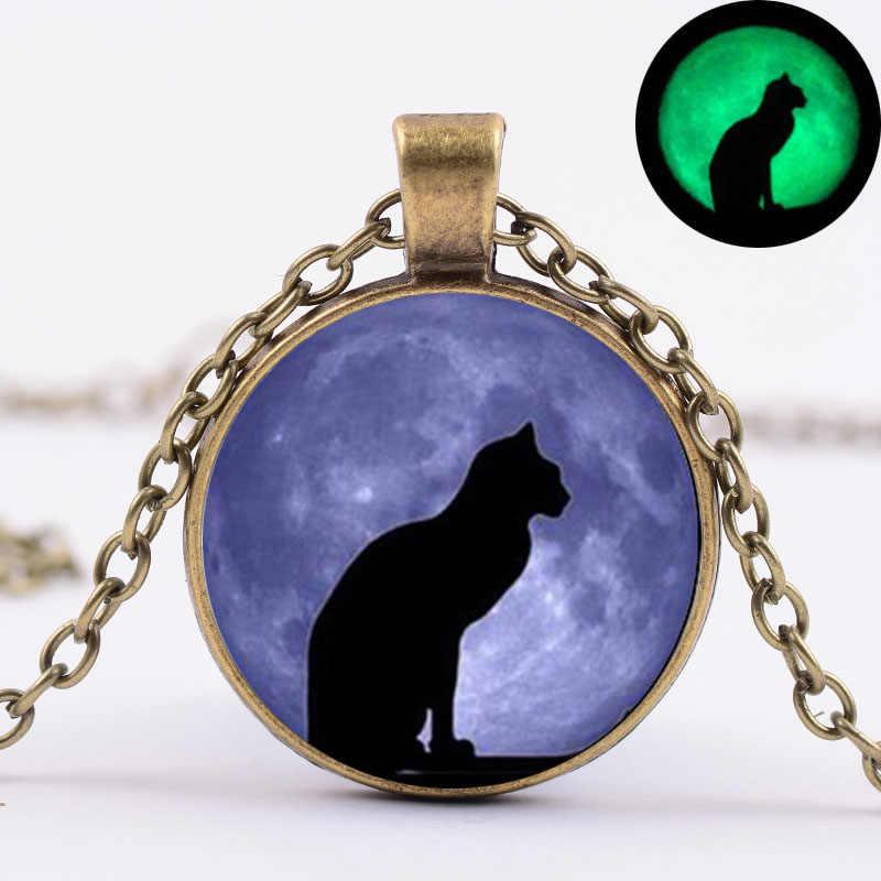 SIAN светящаяся в темноте фиолетовая луна ожерелье с кошкой светящийся хрустальный стеклянный Драгоценный Кулон Ожерелье Женщины Мужчины колдовство ювелирные изделия wicca