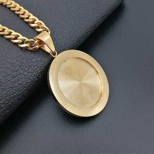 Image 5 - Ожерелье с подвеской в стиле хип хоп с изображением крыльев Ангела для женщин и мужчин, Золотое круглое ожерелье из нержавеющей стали, украшения