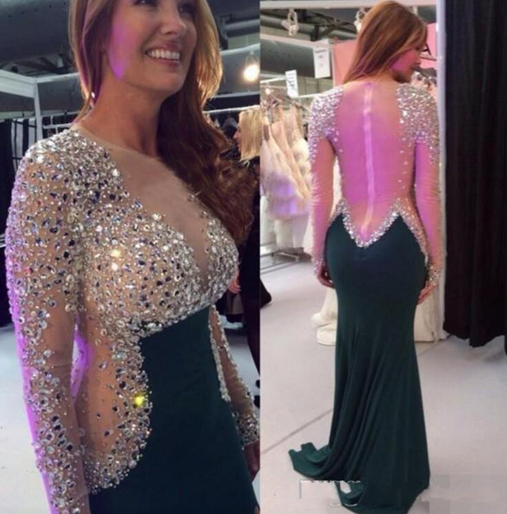 Long Sleeve Christmas Green Crystal Mermaid Prom Dresses 2018 robe de soiree Evening Dress Formal Dress