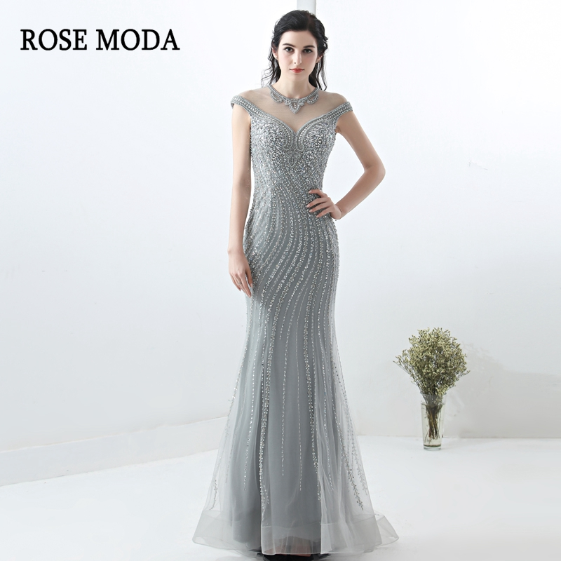 Rose Moda   Prom     Dresses   Long 2018 Sexy Mermaid   Prom     Dress   with Beadings Custom Make