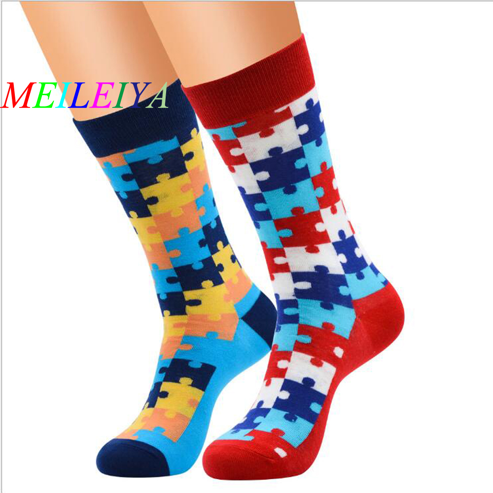 MEI LEI YA 1 Pairs New Casual Colorful Happy Socks High Quality Harajuku Style Art Socks Men Cotton Socks Puzzle Pattern Socks
