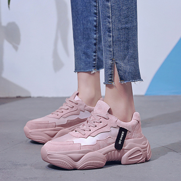 2019 Women Chunky Sneakers Fashion Women Platform Shoes Lace Up Pink Vulcanize Shoes Womens Trainers Casual Shoes Zapatos Mujer big toe sandal