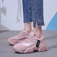 2019 женские кроссовки на массивном каблуке, модные женские туфли на платформе, розовые туфли на шнуровке, женские кроссовки, повседневная об...