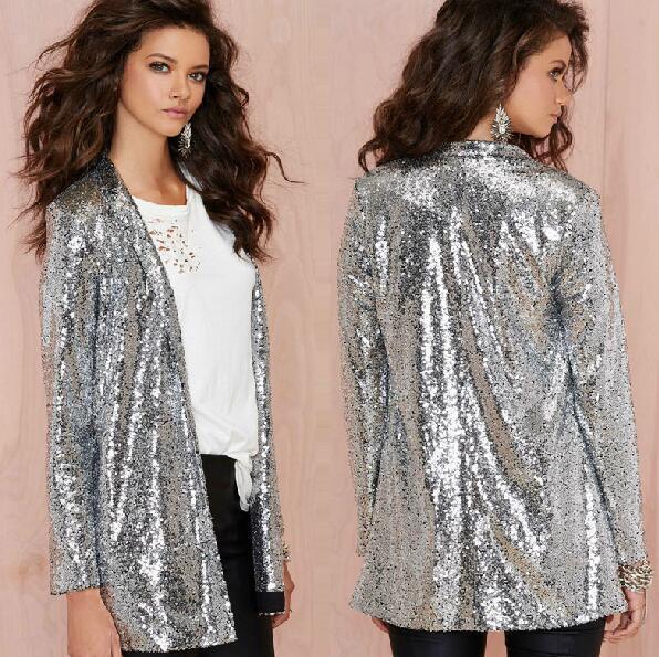2016 Nueva Moda Para Mujer de Plata de Lentejuelas Escudo de Manga Larga Traje Casual Slim Fit Chaquetas Abrigos Brillante Tamaño XS-2XL Envío Gratis