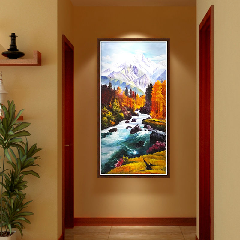 Artist sales hand painted oil painting on canvas hand made paintings golden season forest home decoration