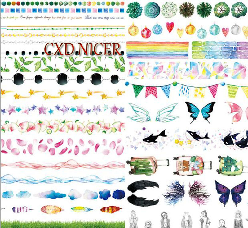 Paper Scrapbooking Tools Feathers Water Lines Wings Decorative Adhesive Tapes Hands Account Scrapbooking Stickers DD1426