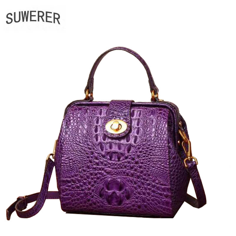 SUWERER 2018 New top cowhide women genuine leather bags crocodile pattern Fashion famous brand luxury leather shoulder small bag zooler brand fashion women messenger bags famous design genuine leather shoulder crossbody bag crocodile pattern small bags