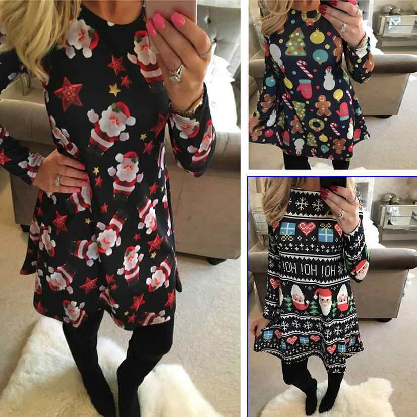 S-5XL Large Size Winter Women Dresses Casual Cute Printed Christmas Dress Casual 2019 Loose Party Short Dress Plus Size Vestidos