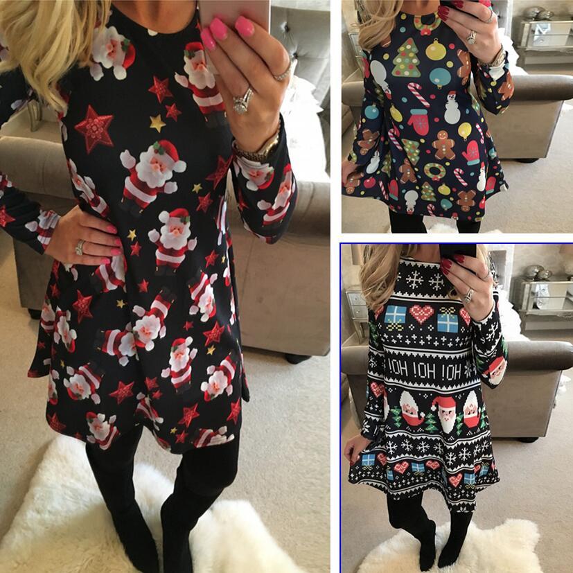 S-5XL Vestidos de mujer de invierno de talla grande Casual lindo impreso vestido de Navidad Casual 2018 Vestido corto de fiesta suelto talla grande Vestidos