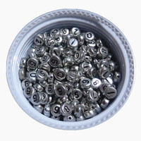 Free Shipping Flat Round Shape 4*7MM 3600PCS/Lot Silver 0 9 Number Beads Acrylic Plastic Jewelry Alphabet Letter Numbers Beads