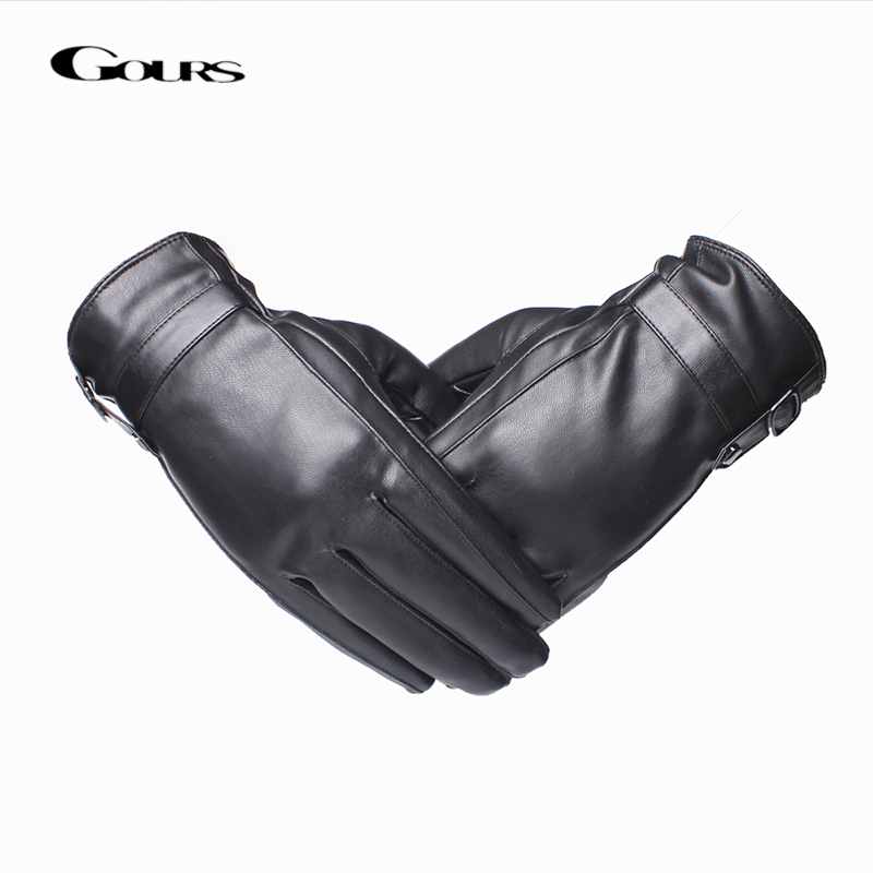 Gours Leather Gloves for Men Fashion Brand Male Black Touch Screen PU Leather Finger Gloves Warm In Winter New Arrival GSM042