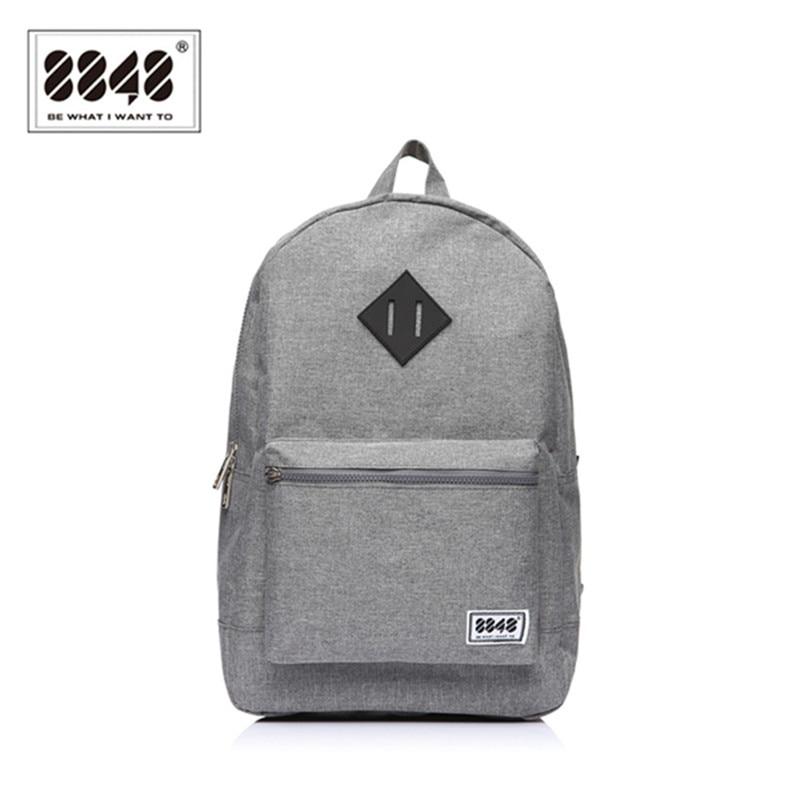 8848 العلامة التجارية الرجال حقيبة الظهر نمط preppy مدرسة حقيبة الظهر لل مراهق طالب عارضة رمادي 15.6 بوصة محمول S15010-10