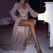 Robe longue à manches longues pour femmes, robe Sexy à manches longues, col en v, avec Perspective, avec pois, #1