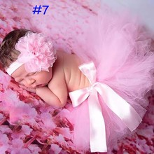 Newborn Tutu Skirt With Matching Flower Headband Baby Photography Props Bow Girl Tulle and hair accessories 8 Designs