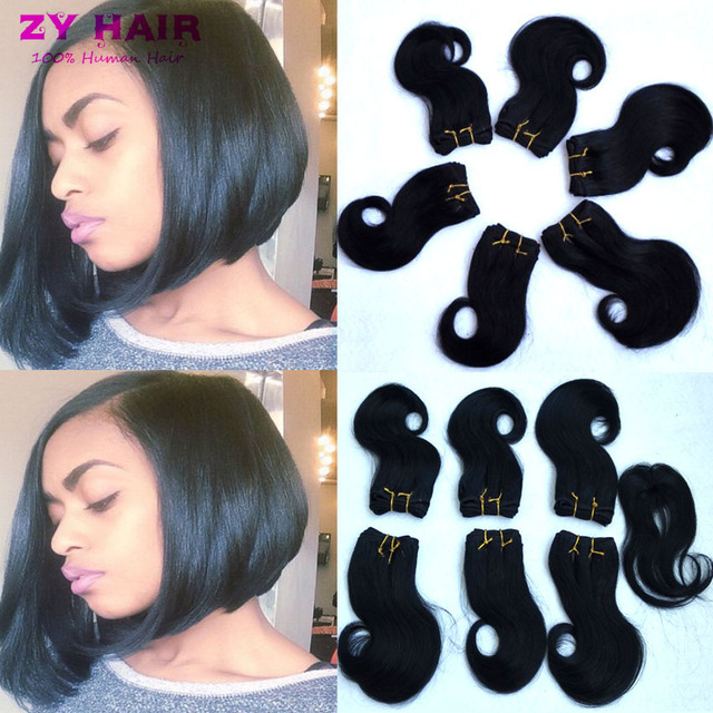 Peruvien Body Wave With Closure Bff Hair Extensions 6 Bundles 8 inch Short  Women s Hair Bob Weave With Closure Fast Deals DHL 281d0e766