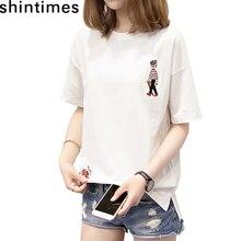Shintimes T Shirt Femme 2019 Summer Casual Tee O-Neck Short Sleeve Loose Embroidery Cartoon Womens Cotton T-Shirt Women Plus Siz