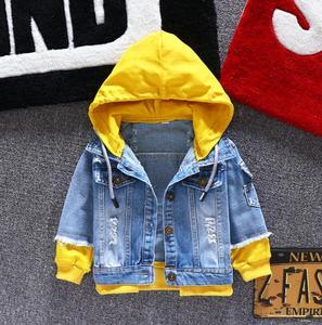 Image 3 - Boy girl Denim Jackets kids jeans coat Children splice Outerwear clothing Spring Autumn boy hooded sport Clothes For 1 6T kids