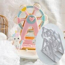 3PCS  Bakeware Ferris Wheel Shaped Cake Tools  Plastic  Fondant Biscuit Mold Baking Mould Cookie Cutter  Kitchen Gadgets