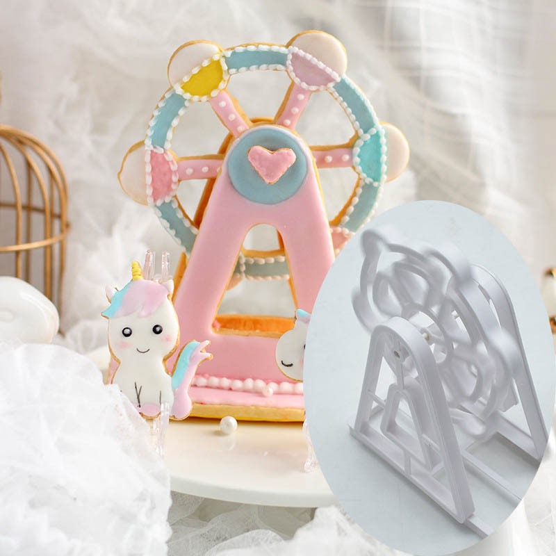 3PCS Bakeware Ferris Wheel Shaped Cake Tools Plastic Fondant Biscuit Mold Baking Mould Cookie Cutter Kitchen Gadgets image