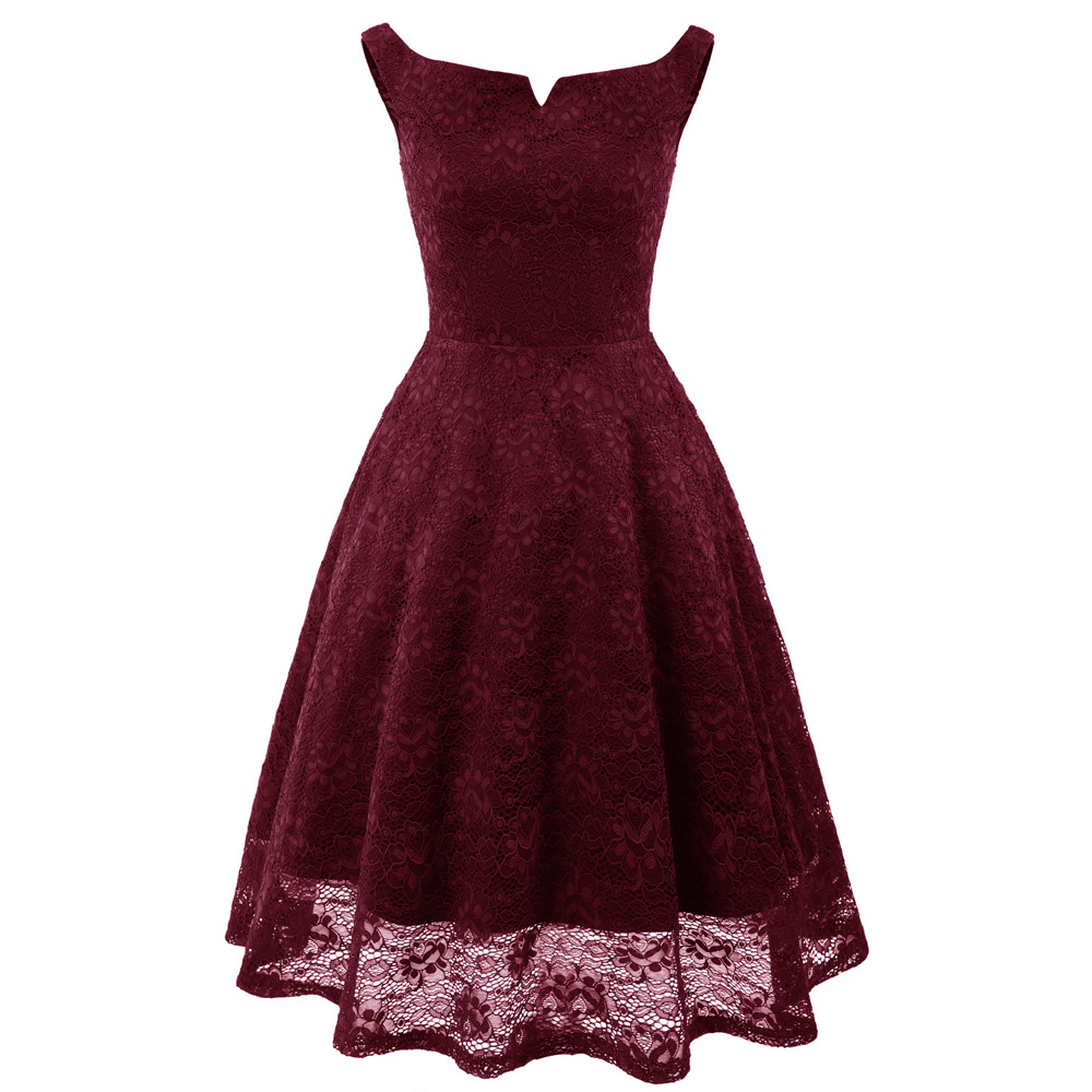 e1221d9d76b5 ... Women Spaghetti Straps Floral Lace Dress 2018 Party Slim A-Line Pleated  Swing Dresses 40s ...
