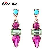 KISS ME Кристальные геометрические простые серьги-гвоздики из смолы новые смешанные ювелирные изделия Модные серьги для женщин