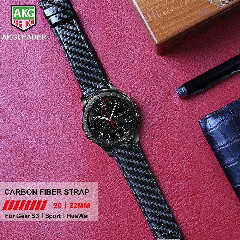 все цены на AKGLEADER For Samsung Galaxy Watch 46mm 42m Gear S3 S2 Watch Band Real Carbon Fiber Leather Strap Huami Amazfit 2 Wrist Band онлайн