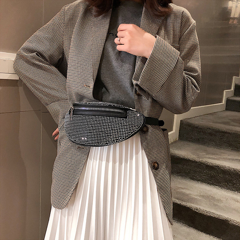 Women Pillow Diamond Waist Bag Fashion Glittering Fanny Pack Luxury Chain Chest Bag Leather Belt Phone Pocket New Shoulder Bag
