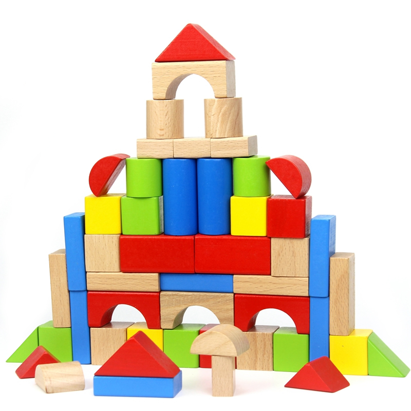 Baby Wooden Blocks Toys 50pcs Multicolored Geometric Assembling Building Block Beech Wood Learning Educational Unisex Toddlers 32 pcs setcolor changed diy jigsaw toys wooden children educational toys baby play tive junior tangram learning set