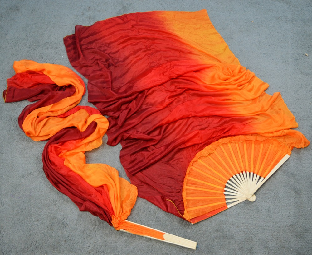 High Selling Handmade Women Quality Silk Belly Dance Fan Dance 100% Real Silk Veils 1 Pair Maroon +red +orange