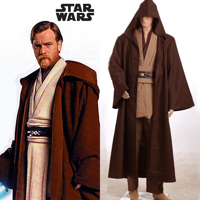 Star Wars Revenge of the Sith Obi Wan Kenobi COSplay Costume Jedi Robe Adult  Men Halloween Costume 8e9acf70a