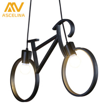 Bicycle Chandelier lighting vintage lamp pendant lamps E27 110-220v for decor lights Vintage wrought iron chandelier led edison