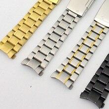 купить 2016 New Stainless Steel Solid Links Watch Band Strap Bracelet Curved End / Arc Degree 18/19/20/22mm + tool по цене 585.53 рублей