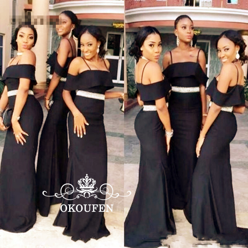Black Mermaid   Bridesmaid     Dresses   With Silver Beads 2019 Off Shoulder Under 100 Wholesale Price Long Maid Of Honor   Dress   Party